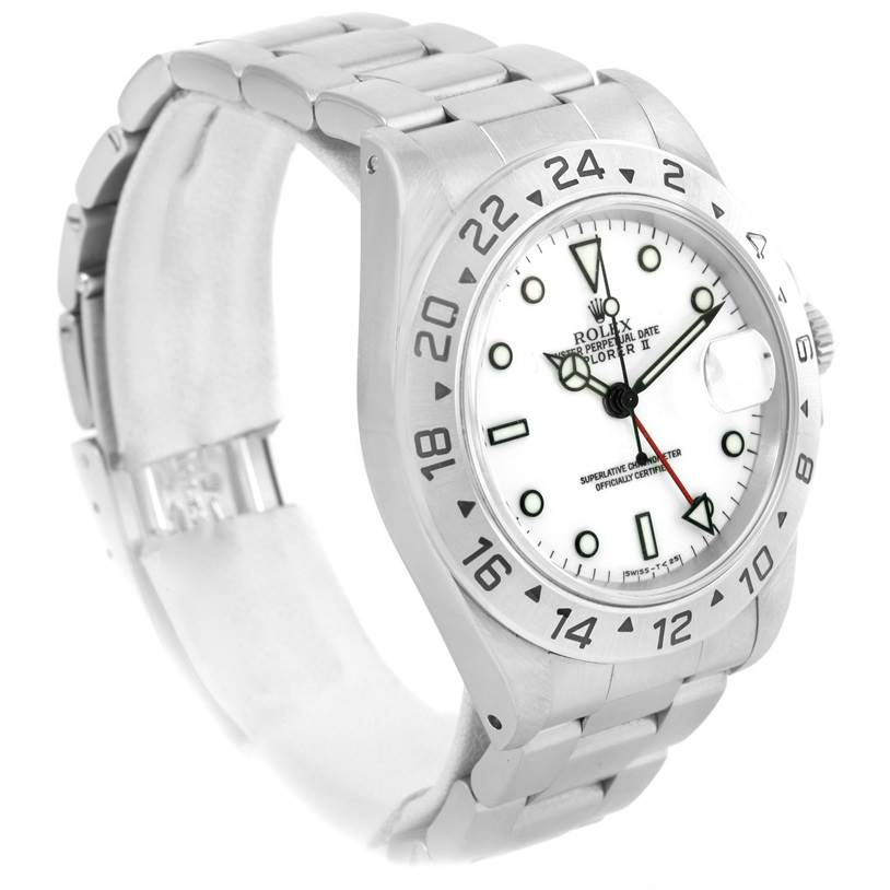 Rolex Explorer II White Dial Stainless Steel Mens Watch 16570 SwissWatchExpo