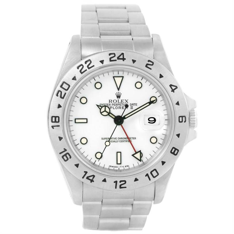 12541 Rolex Explorer II White Dial Steel Automatic Mens Watch 16570 SwissWatchExpo