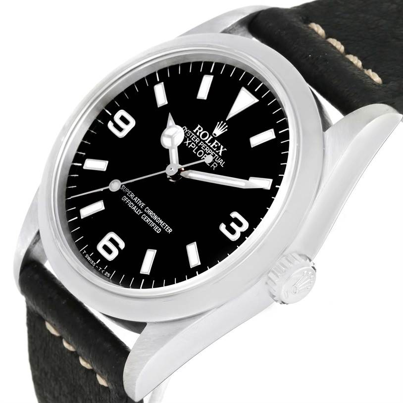 rolex explorer i mens steel black dial leather strap watch