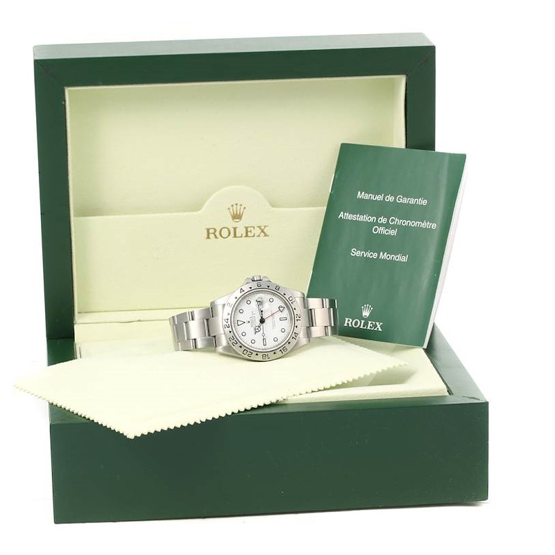 Rolex Explorer II White Dial Steel Mens Watch 16570 Year 2004 SwissWatchExpo