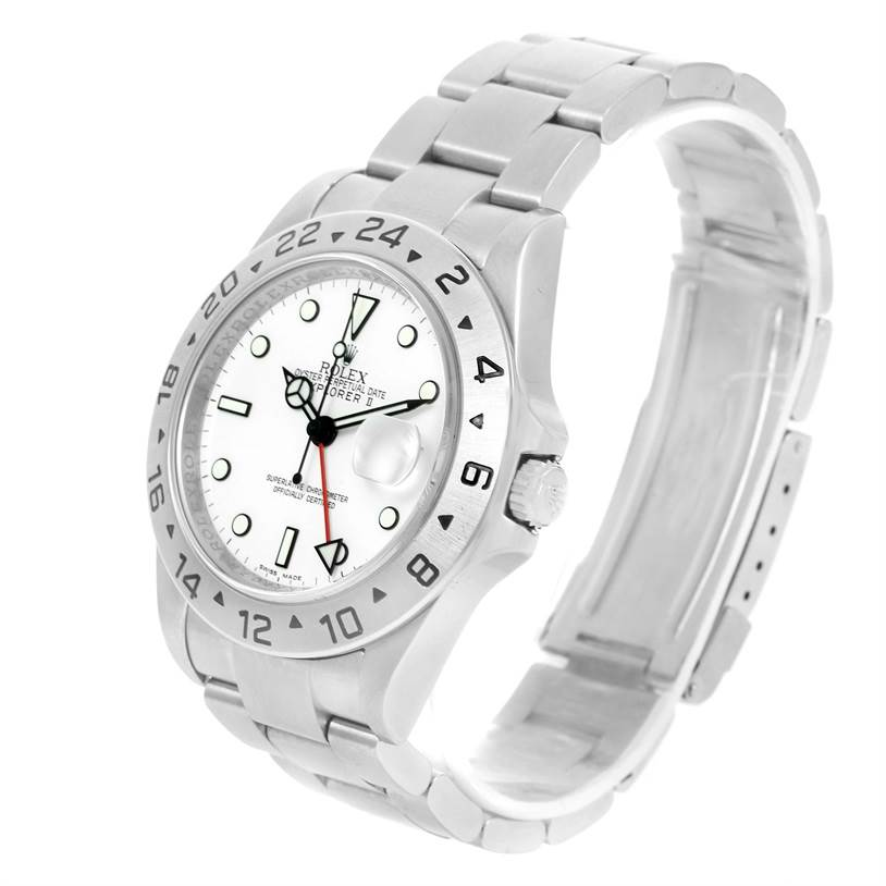 12934 Rolex Explorer II Parachrom Hairspring White Dial Mens Watch 16570 SwissWatchExpo