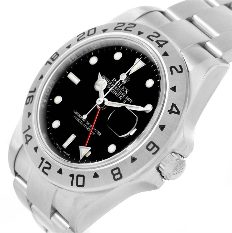 Rolex Explorer II Parachrom Hairspring Steel Watch 16570 Box Papers SwissWatchExpo
