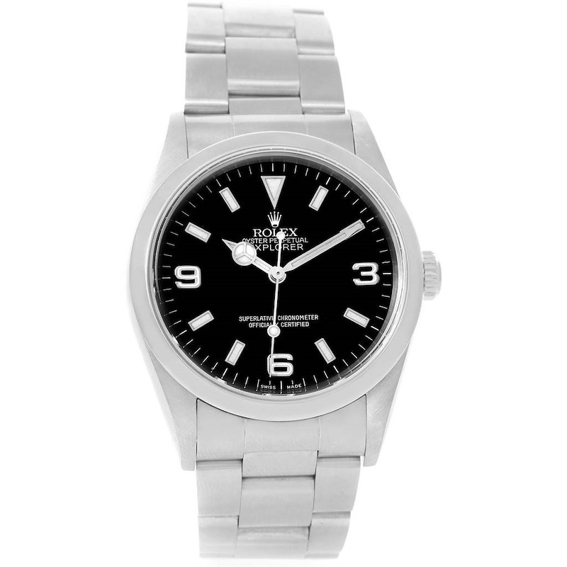 Rolex Explorer I Black Dial Stainless Steel Mens Watch 14270 SwissWatchExpo