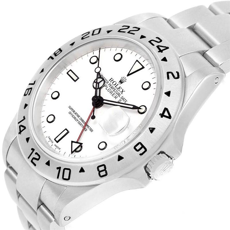 Rolex Explorer II White Dial Stainless Steel Mens Watch 16570 SwissWatchExpo