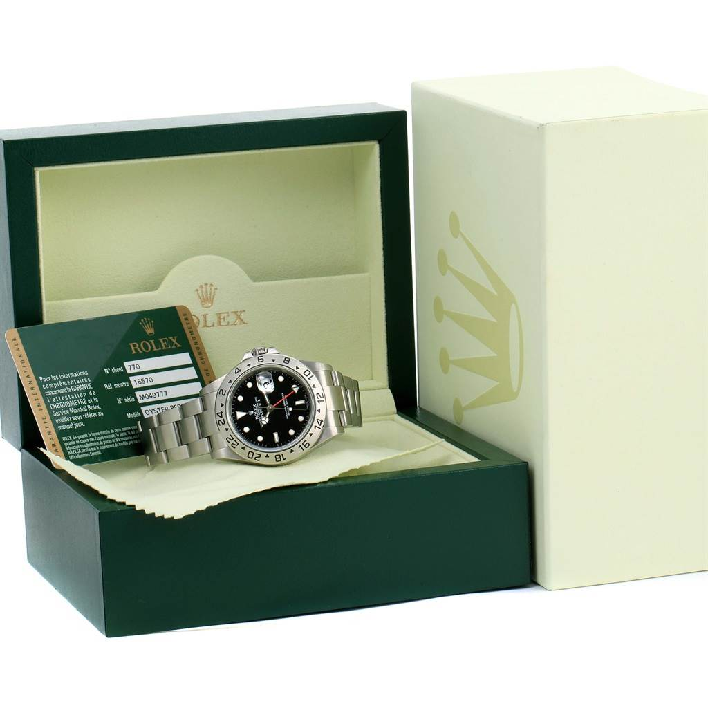 13941 Rolex Explorer II Parachrom Hairspring Steel Watch 16570 Box Papers SwissWatchExpo