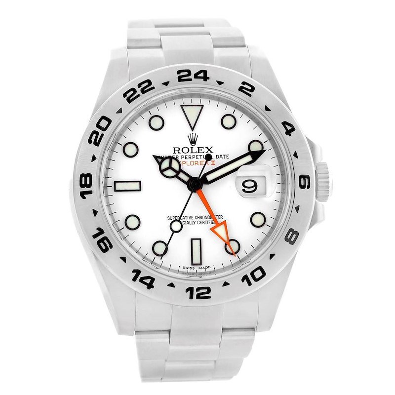 Rolex Explorer II Stainless Steel White Dial Mens Watch 216570 SwissWatchExpo