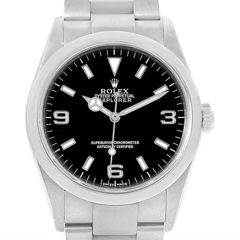 Rolex Explorer I Black Dial Steel Automatic Mens Watch 114270 SwissWatchExpo
