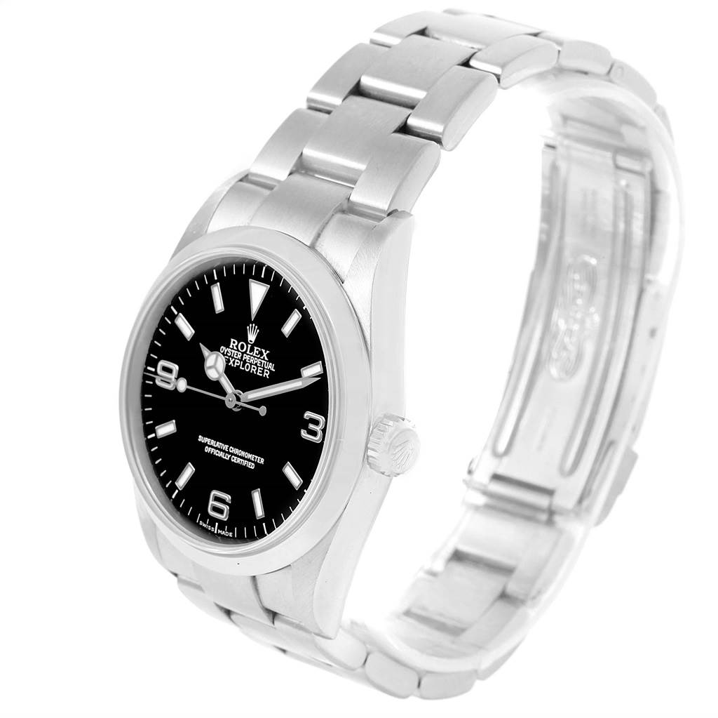 Rolex Explorer I Black Dial Steel Automatic Mens Watch 114270 SwissWatchExpo