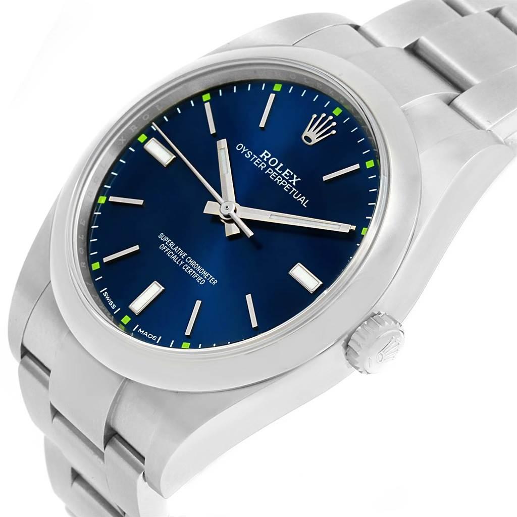 Rolex Oyster Perpetual 39 Blue Dial Mens Watch 114300 Unworn