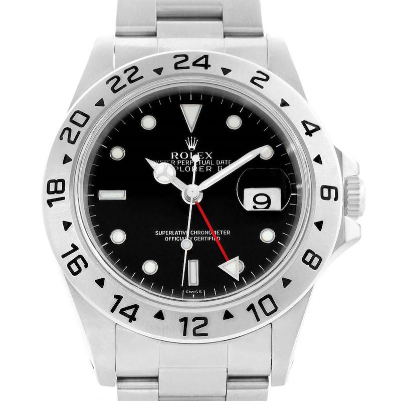 Rolex Explorer II Black Dial Steel Mens Watch 16570 Box Papers SwissWatchExpo