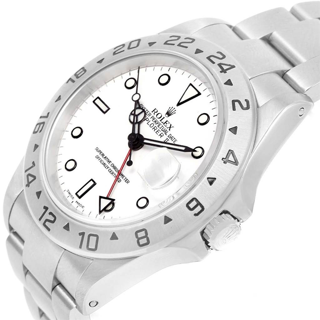 14625 Rolex Explorer II White Dial Stainless Steel Mens Watch 16570 SwissWatchExpo