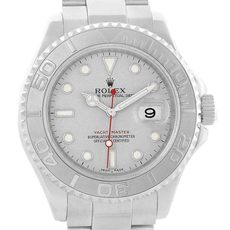 Rolex Yachtmaster Stainless Steel Platinum Mens Watch 16622 Box Papers SwissWatchExpo