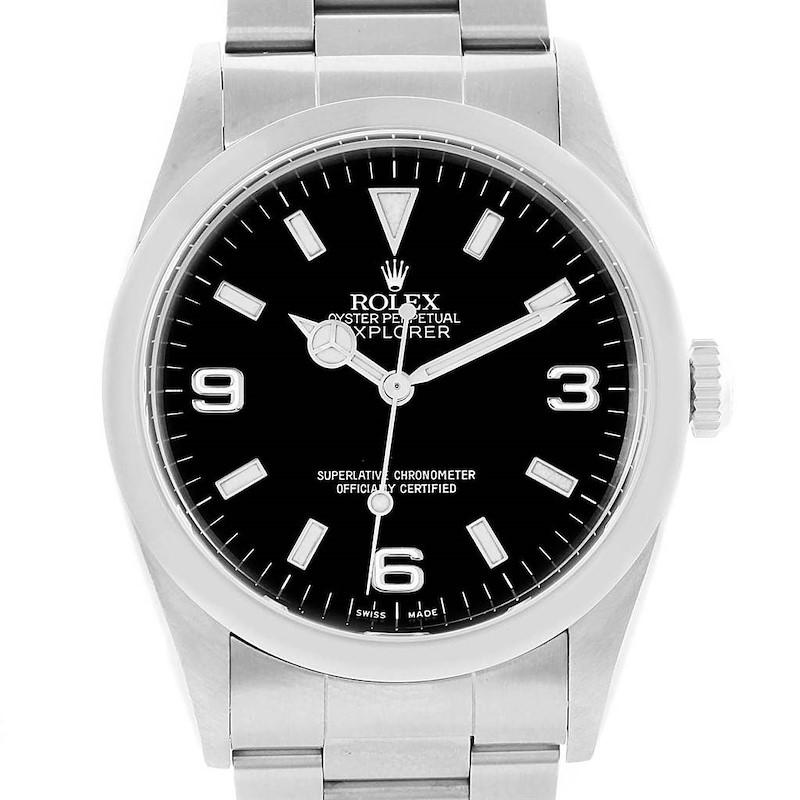 Rolex Explorer I Black Dial Steel Mens Mens Watch 114270 SwissWatchExpo