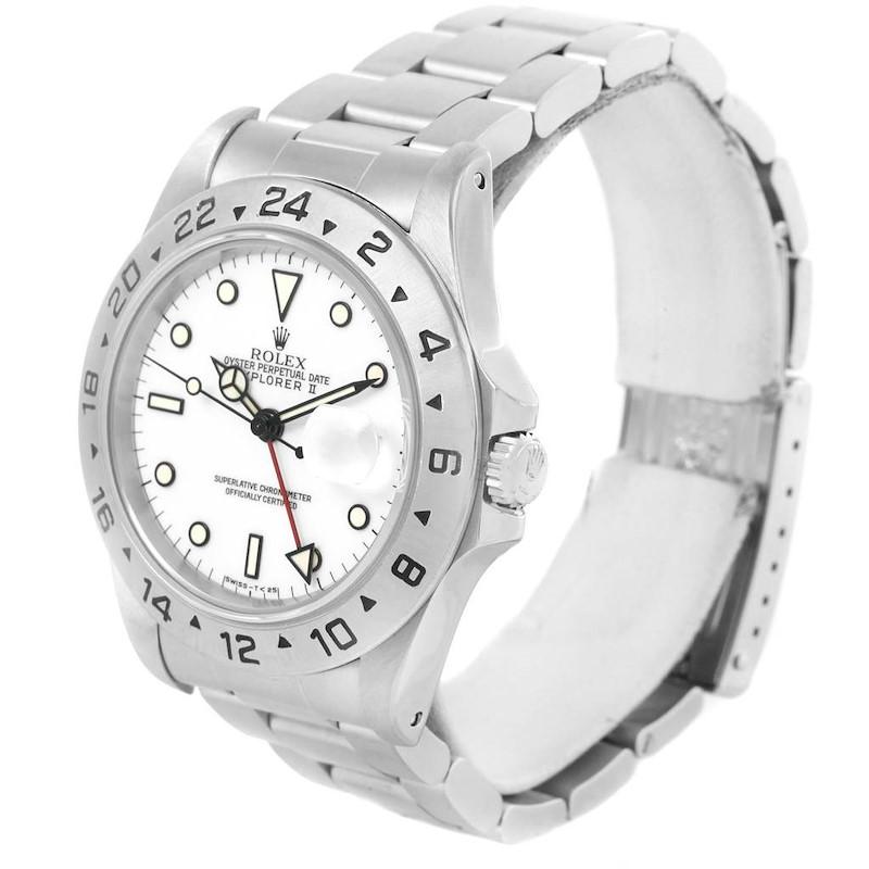 Rolex Explorer II White Dial 40mm Stainless Steel Mens Watch 16570 SwissWatchExpo