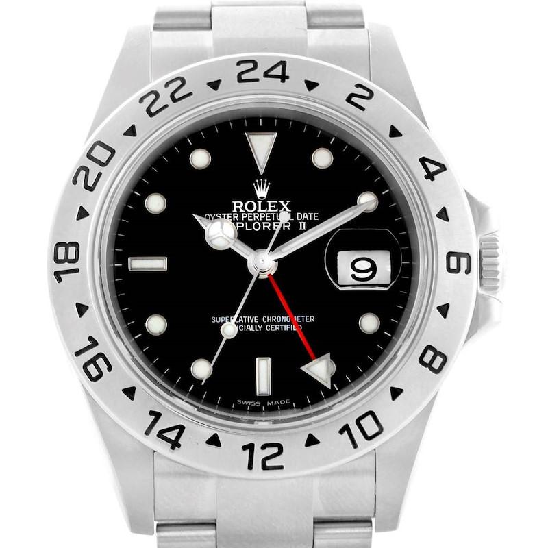 Rolex Explorer II Black Dial 40mm Steel Mens Watch 16570 Box Papers SwissWatchExpo