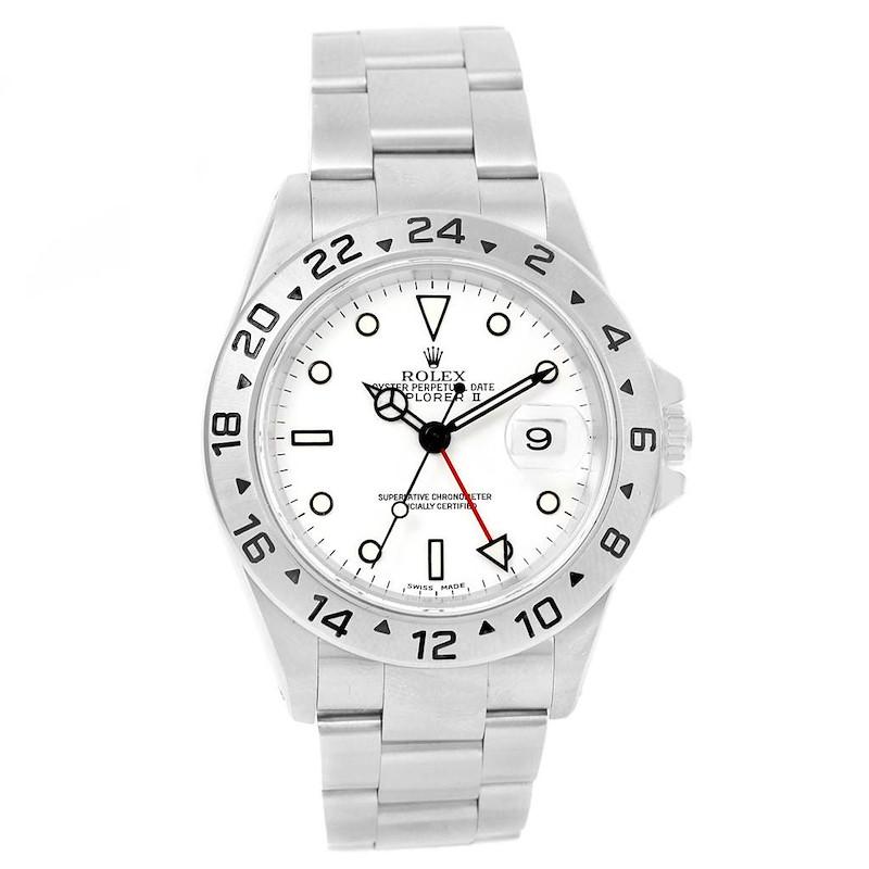 Rolex Explorer II White Dial 40mm Automatic Mens Watch 16570 SwissWatchExpo