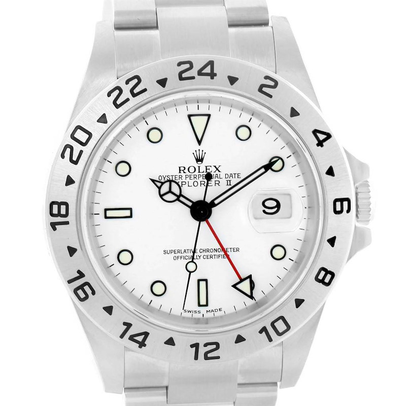 Rolex Explorer II White Dial Oyster Bracelet Steel Mens Watch 16570 SwissWatchExpo