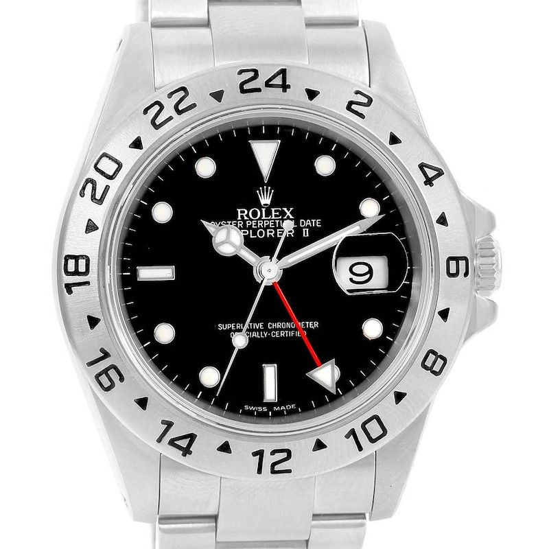 Rolex Explorer II Black Dial Oyster Bracelet Mens Watch 16570 SwissWatchExpo