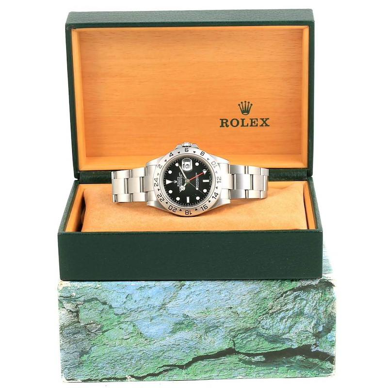 Rolex Explorer II Black Dial 40mm Automatic Mens Watch 16570 SwissWatchExpo