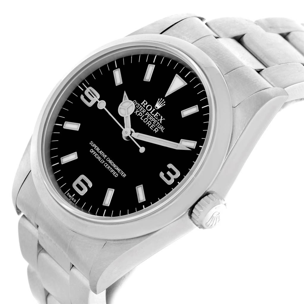 Rolex Explorer I Black Dial Stainless Steel Mens Watch 14270 SwissWatchExpo