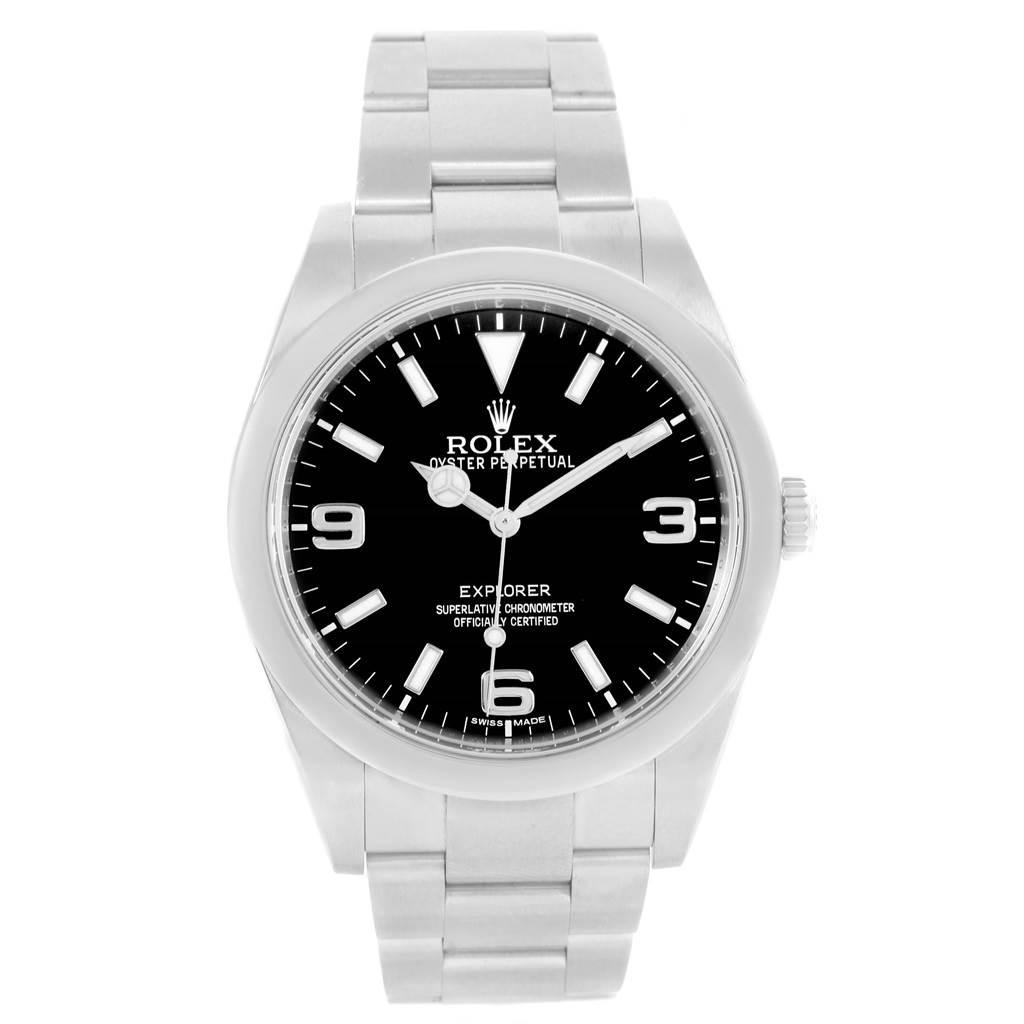 Rolex Explorer I Steel Black Dial Mens Watch 214270 Box Papers SwissWatchExpo