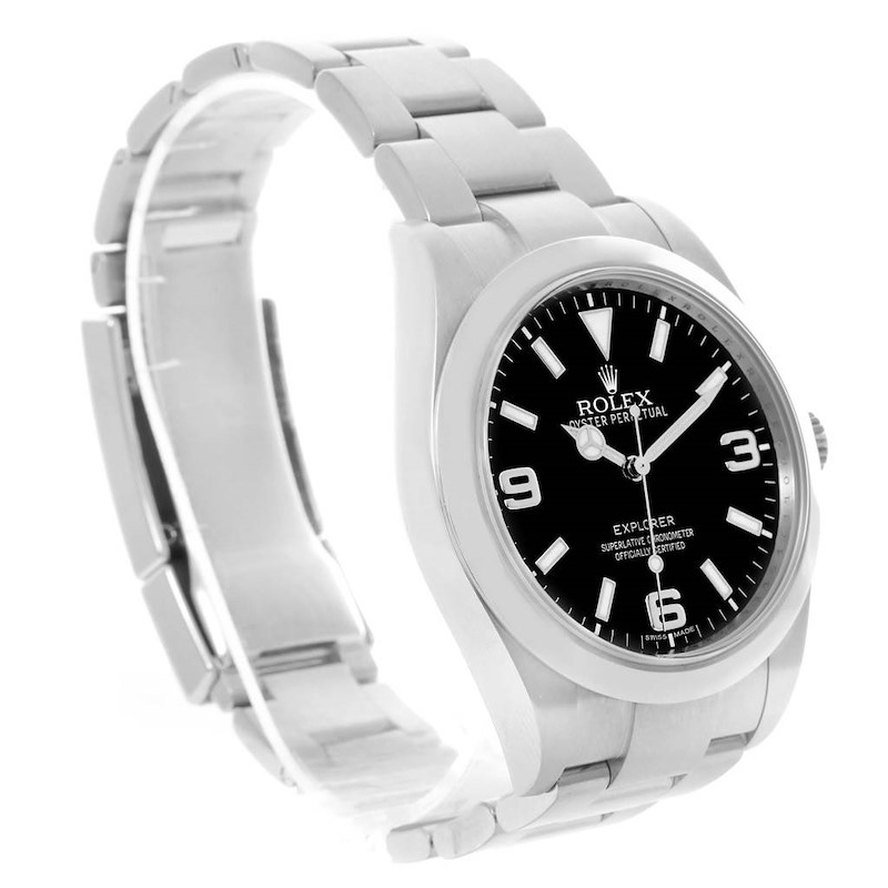 Rolex Explorer I Steel Black Dial Mens Watch 214270 Box Papers SwissWatchExpo