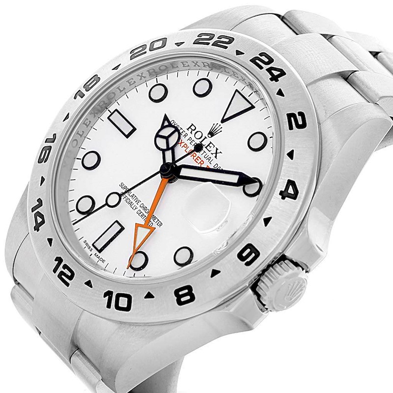 Rolex Explorer II Stainless Steel White Dial Watch 216570 Box Card SwissWatchExpo