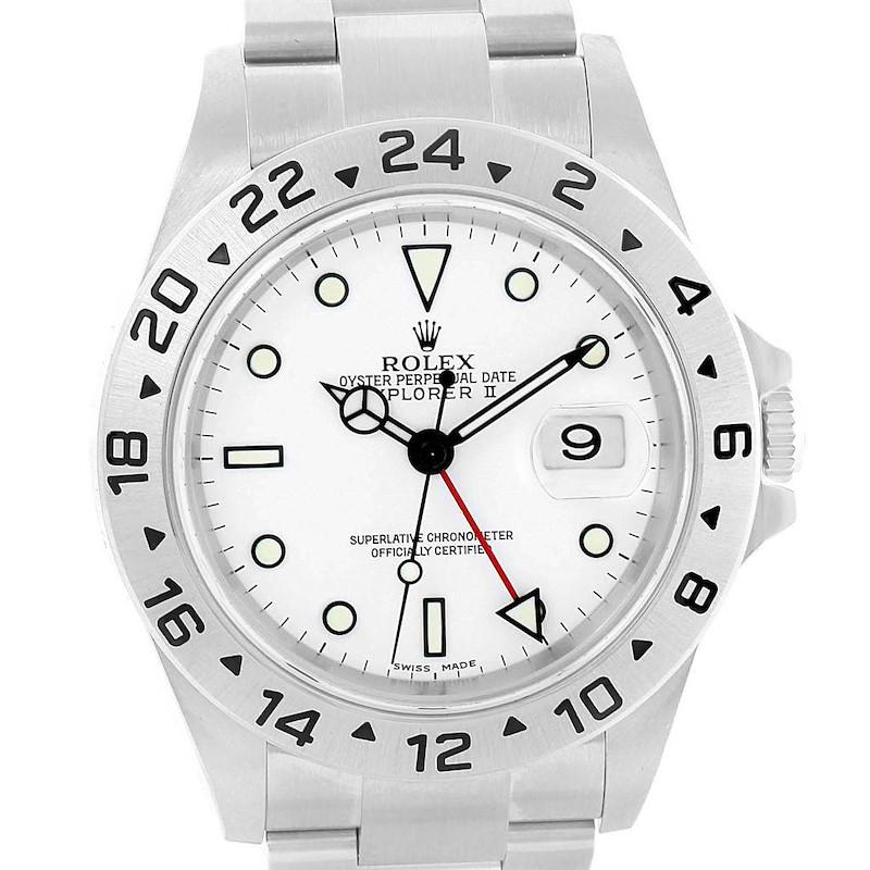 Rolex Explorer II White Dial Oyster Bracelet 40mm Mens Watch 16570 SwissWatchExpo
