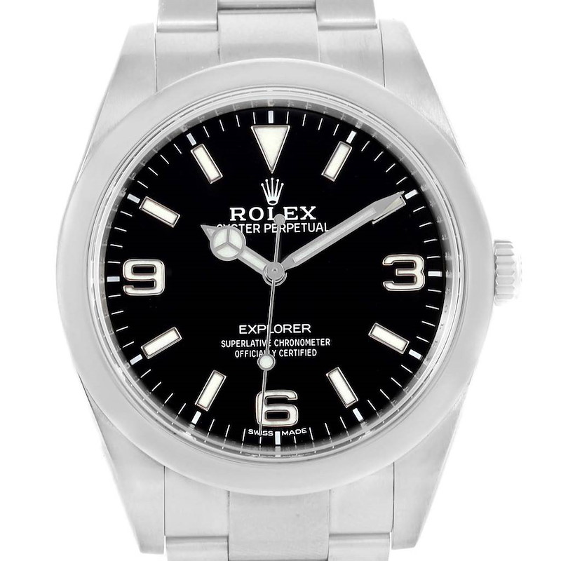 Rolex Explorer I 39 Black Dial Oyster Bracelet Steel Mens Watch 214270 SwissWatchExpo