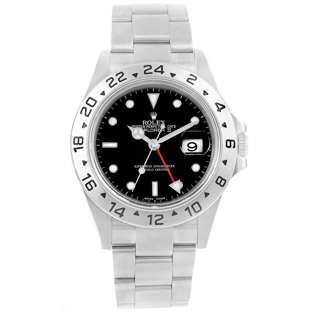 Rolex Explorer II Black Dial Parachrom Hairspring Mens Watch 16570 SwissWatchExpo