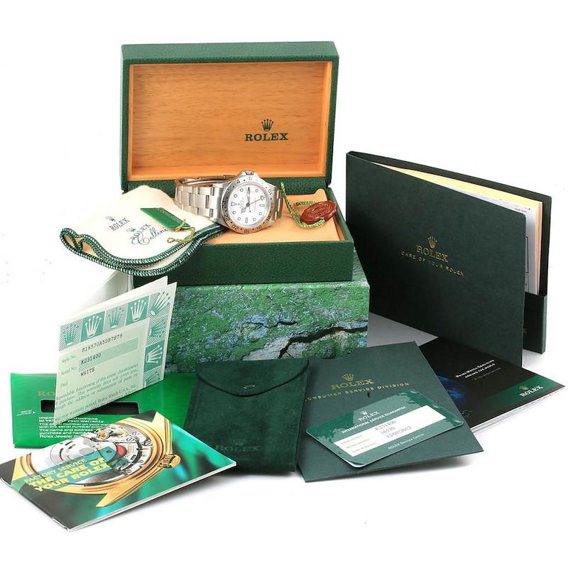 Rolex Explorer II White Dial Steel Mens Watch 16570 Box Papers SwissWatchExpo