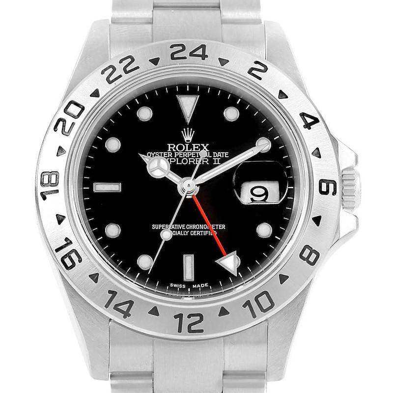 Rolex Explorer II Black Dial Automatic Steel 40mm Mens Watch 16570 SwissWatchExpo