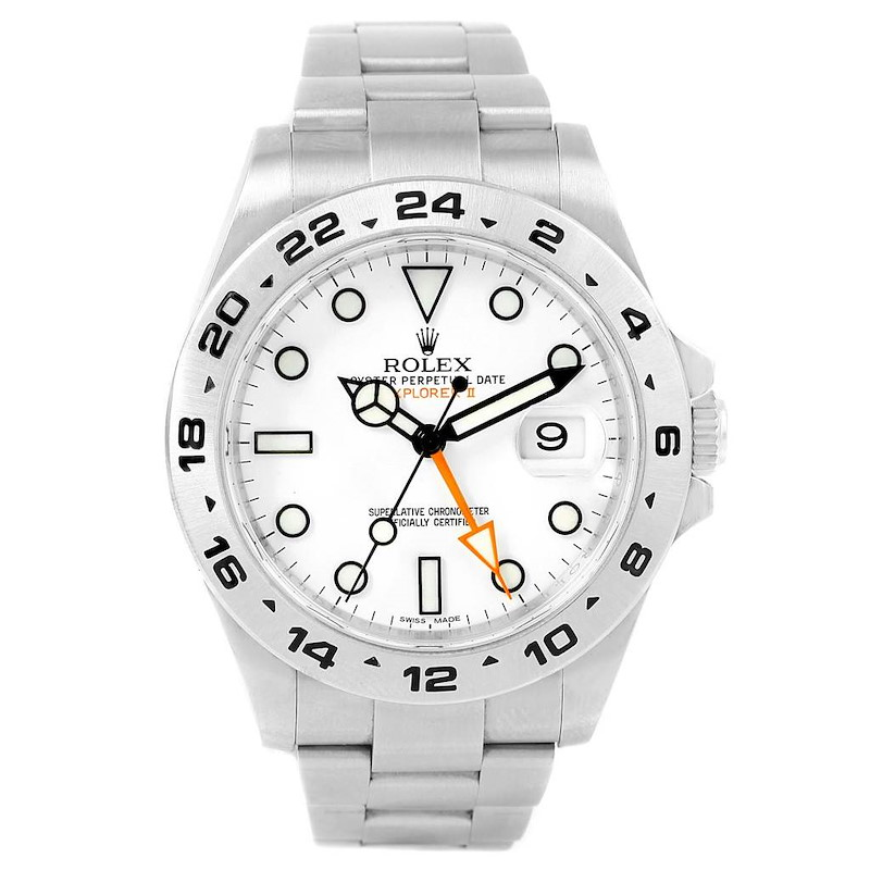 Rolex Explorer II 42mm White Dial Automatic Steel Mens Watch 216570 SwissWatchExpo