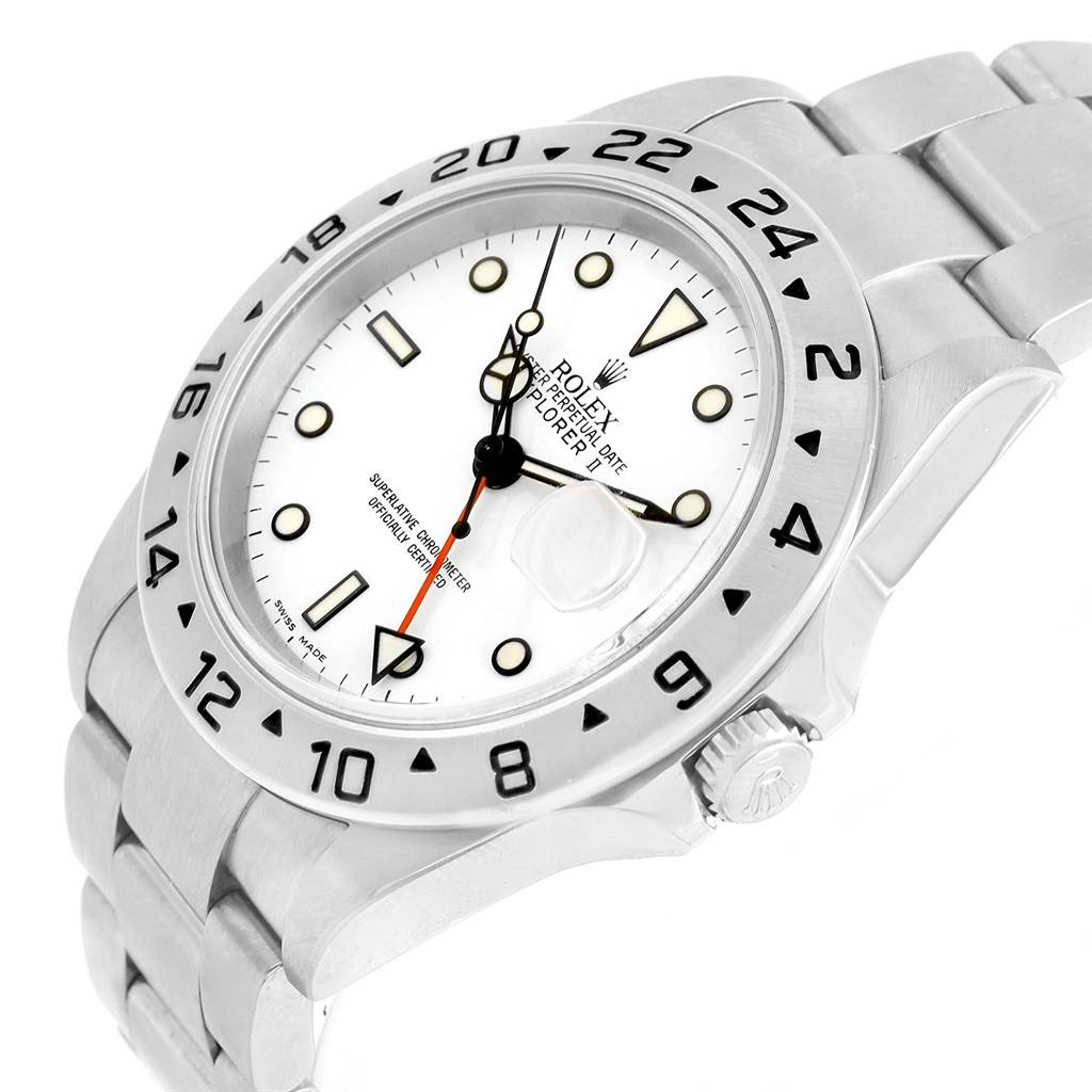 Rolex Explorer II White Dial Steel Mens Watch 16570 Box Card SwissWatchExpo