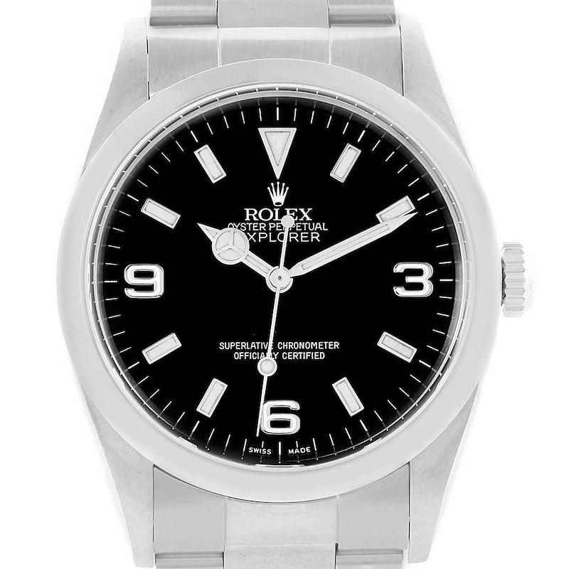 Rolex Explorer I 36 Black Dial Automatic Steel Mens Watch 114270 SwissWatchExpo