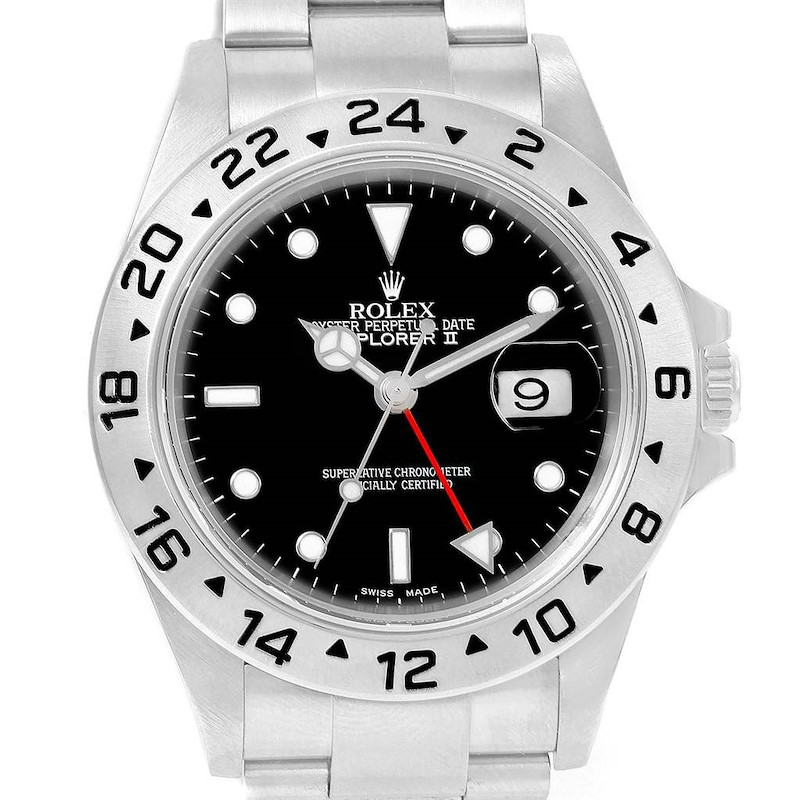 Rolex Explorer II Black Dial Stainless Steel 40mm Mens Watch 16570 SwissWatchExpo