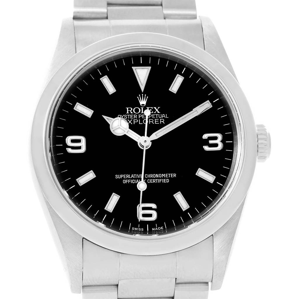 Rolex Explorer I 36 Black Dial Stainless Steel Mens Watch 14270 SwissWatchExpo