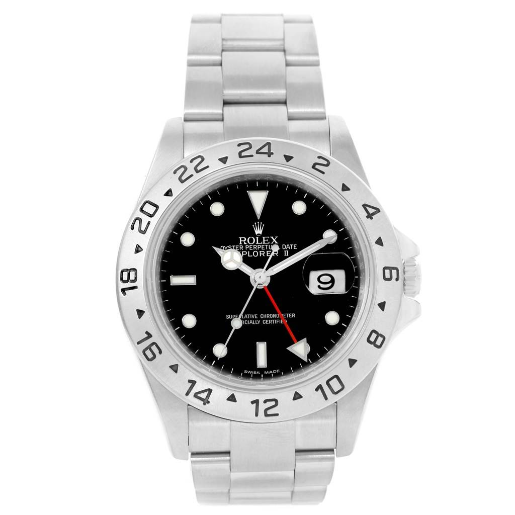 Rolex Explorer II Black Dial Parachrom Hairspring Watch 16570 Box Card SwissWatchExpo