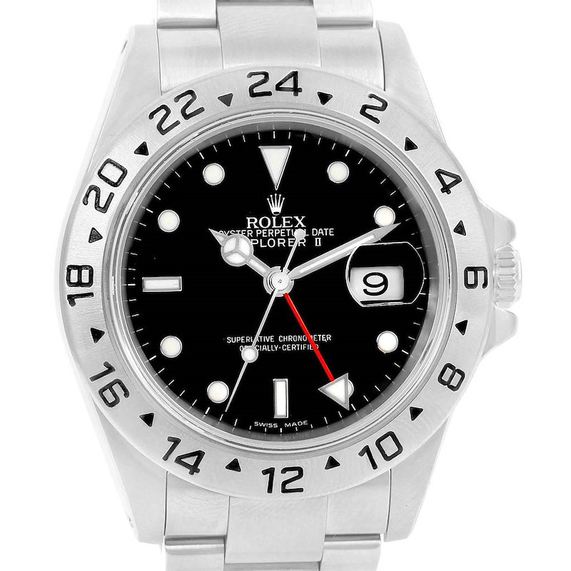 Rolex Explorer II Black Dial Stainless Steel Automatic Watch 16570 SwissWatchExpo