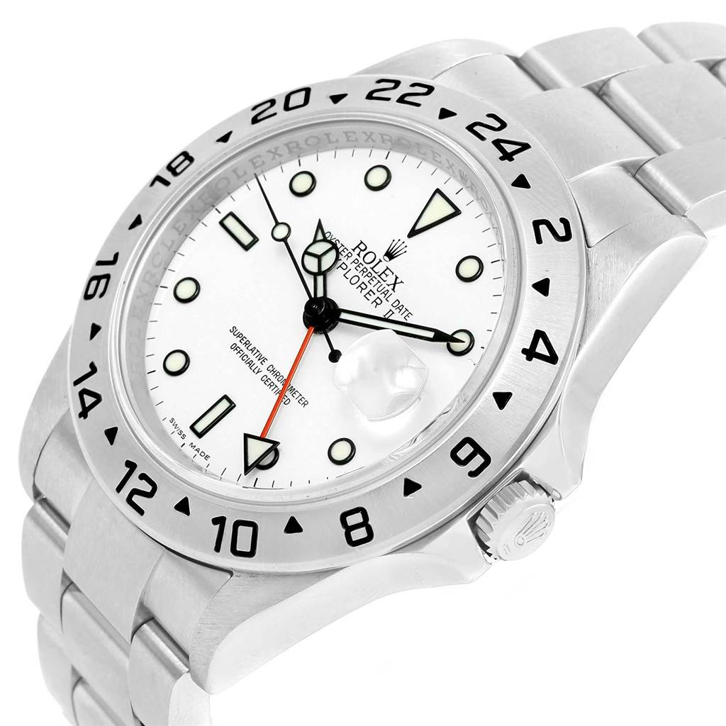 Rolex Explorer II Parachrom Hairspring White Dial Mens Watch 16570 SwissWatchExpo