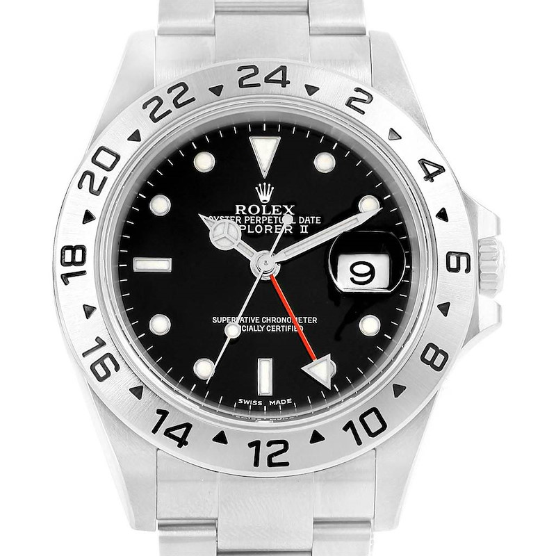 Rolex Explorer II 40mm Black Dial Steel Automatic Watch 16570 SwissWatchExpo