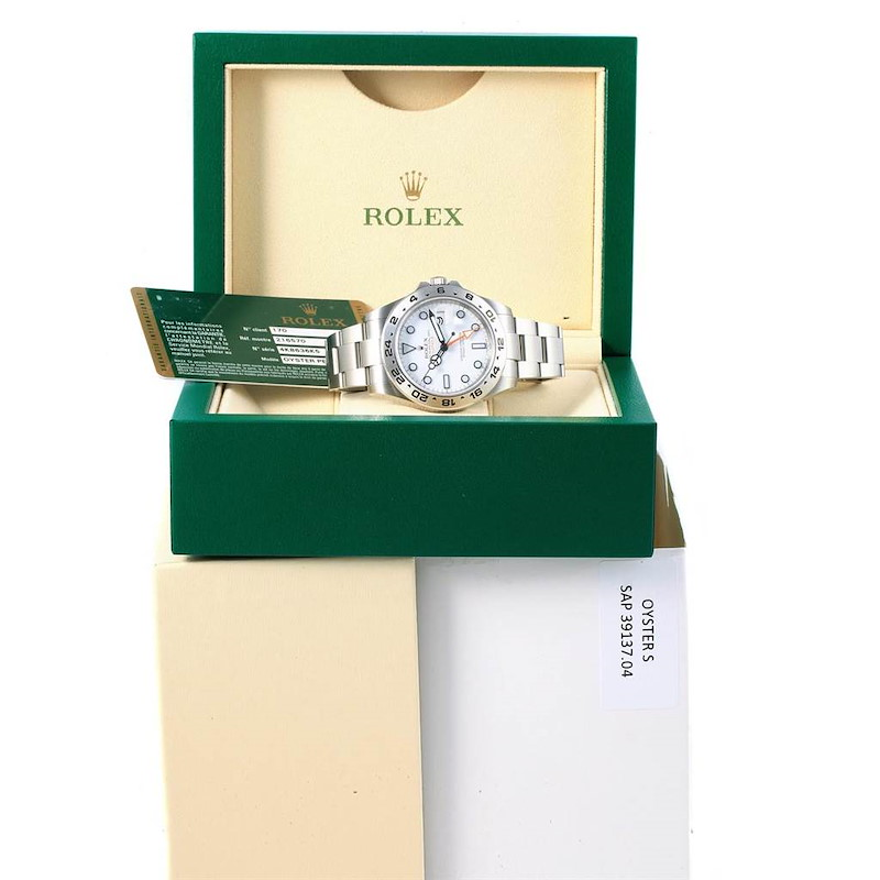 Rolex Explorer II 42 White Dial Oyster Bracelet Watch 216570 Box Papers SwissWatchExpo