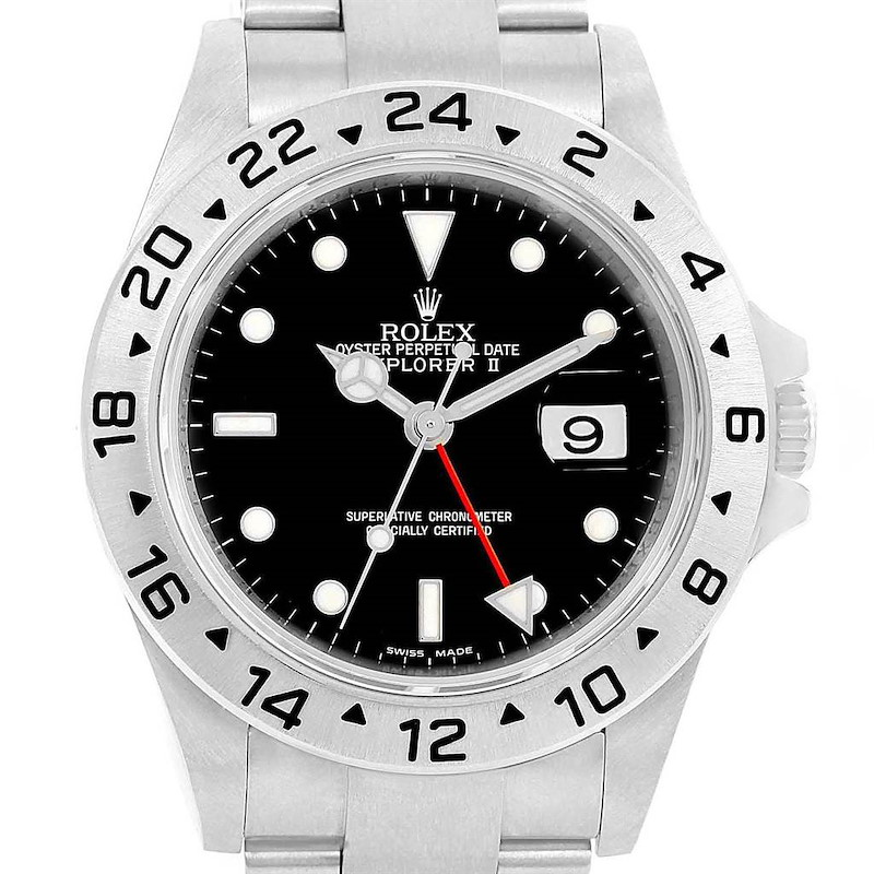 Rolex Explorer II Black Dial Steel Hairspring Mens Watch 16570 Box Card SwissWatchExpo