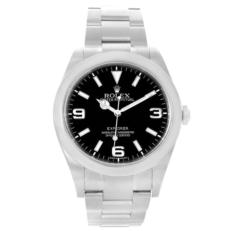 Rolex Explorer I Steel Black Dial Oyster Bracelet Mens Watch 214270 SwissWatchExpo