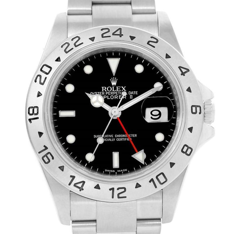 Rolex Explorer II Black Dial Red Hand Parachrom Hairspring Watch 16570 SwissWatchExpo
