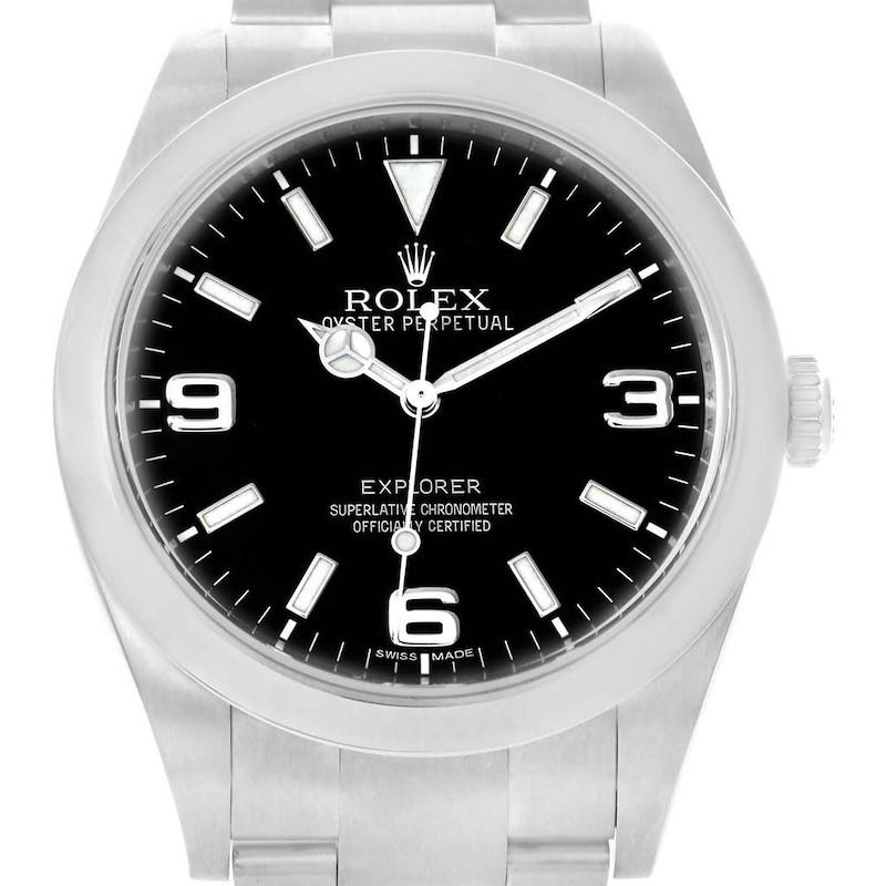 Rolex Explorer I 39 Black Dial Steel Mens Watch 214270 Box SwissWatchExpo