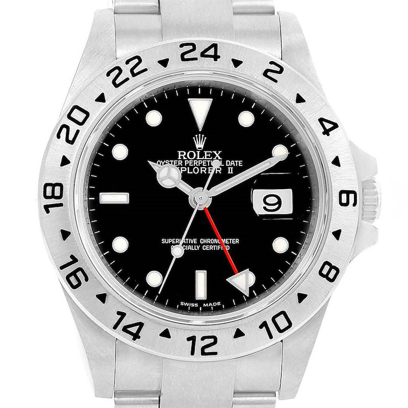 Rolex Explorer II Parachrom Hairspring Steel Mens Watch 16570 Box SwissWatchExpo