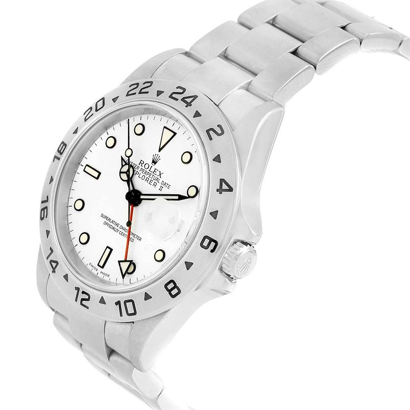 Rolex Explorer II 40 White Dial Automatic Mens Watch 16570 Box Papers SwissWatchExpo