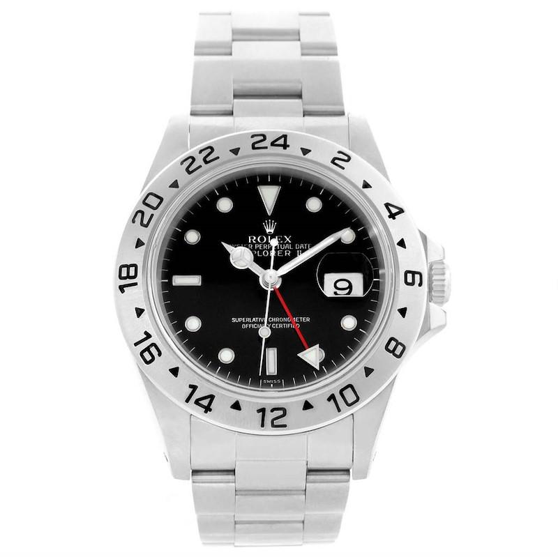 Rolex Explorer II 40mm Black Dial Steel Automatic Watch 16570 SwissWatchExpo