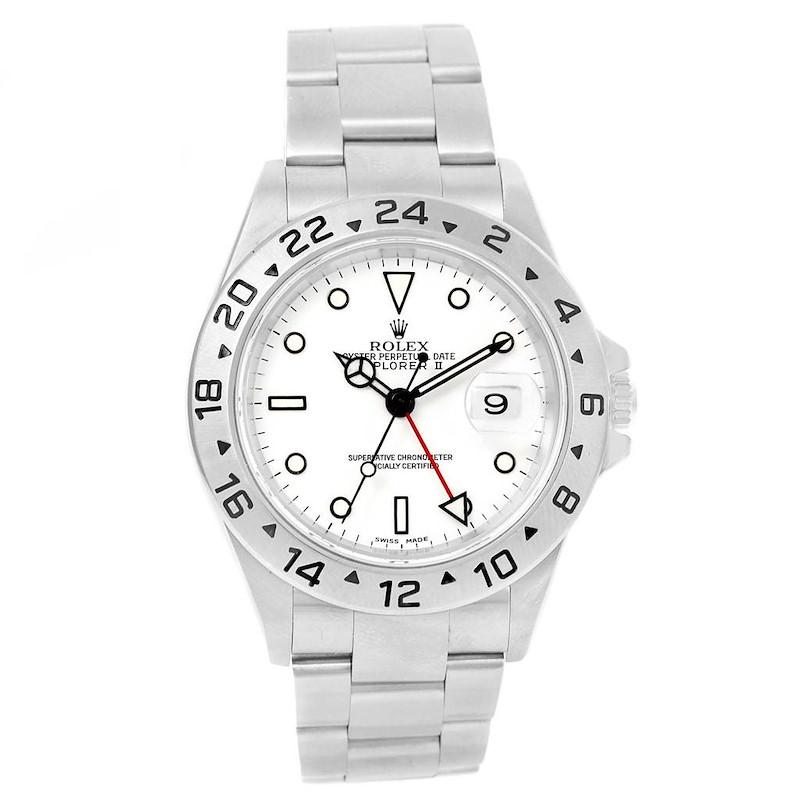 Rolex Explorer II White Dial Automatic Steel Mens Watch 16570 Box SwissWatchExpo